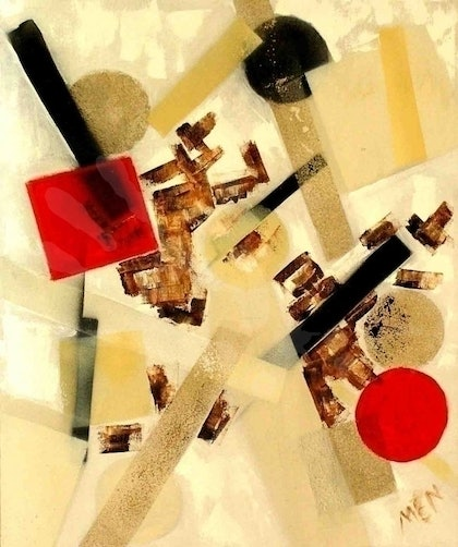 (CreativeWork) 2 red objects by Evguenia Men. mixed-media. Shop online at Bluethumb.