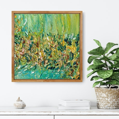 Turquoise, green and yellow abstract waterfall flowing into colourful blooms.