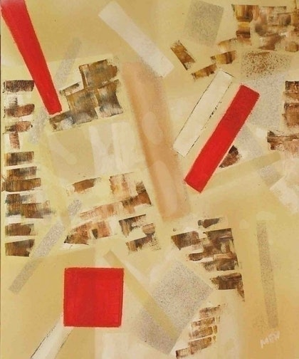 (CreativeWork) 3 red objects by Evguenia Men. mixed-media. Shop online at Bluethumb.