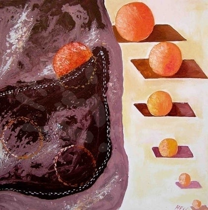 (CreativeWork) chocolate pocket with orange candy balls by Evguenia Men. mixed-media. Shop online at Bluethumb.