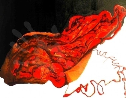 (CreativeWork) red fish by Evguenia Men. mixed-media. Shop online at Bluethumb.