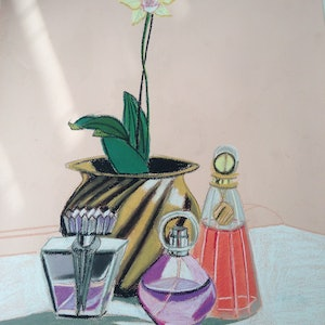 (CreativeWork) Still Life with Perfume Bottles by Kirsty Griffiths. drawing. Shop online at Bluethumb.