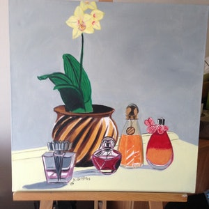 (CreativeWork) Still Life with Perfume Bottles and an Orchid by Kirsty Griffiths. oil-painting. Shop online at Bluethumb.