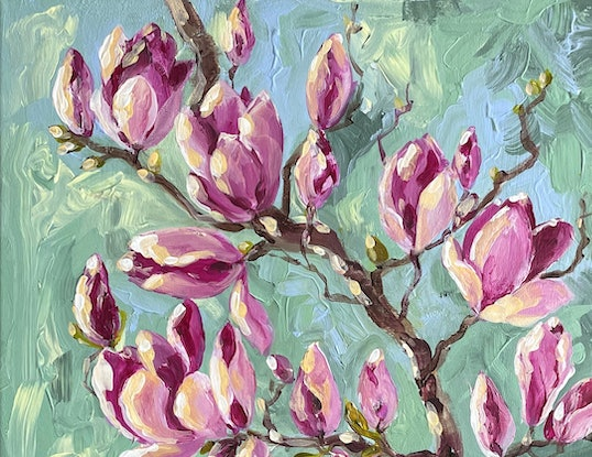 Impressionist painting capturing the blossoming magnolias. Shades of light green and pink are the dominant colours of this work.