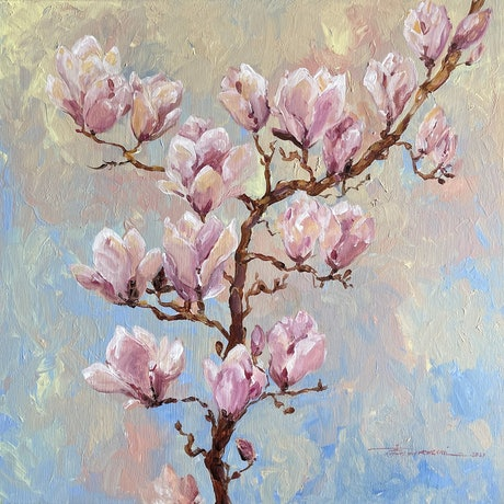 An impressionist artwork depicting white creamy magnolias captured by shades of light blue, pink, and green.