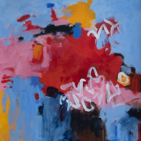 This abstract painting features large areas of light blue and pink contrasting with a large red shape in the centre, and some unknown white coloured script in a couple of places