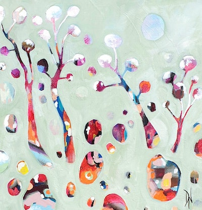 Semi abstract trees in the outback. The main colour is pastel jade. The gemstones and trees have contrasting warm colours schemes.
