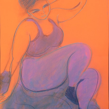 Seated woman with lavender pants