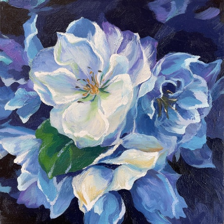 White flowers in blue