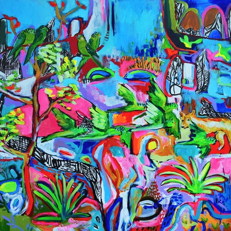 Australian abstract landscape with budgies