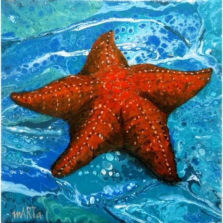 Plump Red Starfish on a light blue background created by fluid acrylic pouring