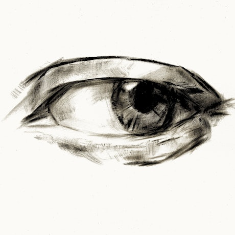A large painting of an eye in black ink on light linen-coloured canvas paper.