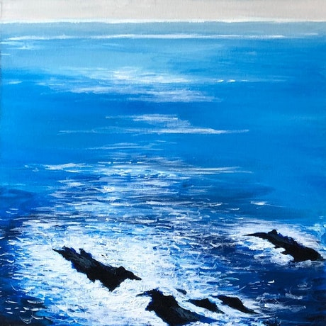 Blue rocky seascape by Shabs Beigh