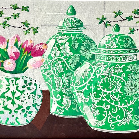 Green Ginger Jars with pink tulips and jade