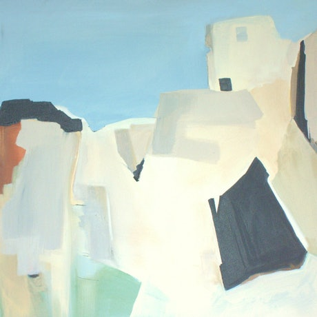 An abstract painting of Ibiza old town.