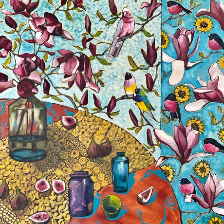 Pink magnolias in a glass vase with figs scattered around on a mustard table cloth, a turquoise and a purple glass vessel are also on the table. In the background there are birds: a pink galah, two gouldian finches, and pink robins all scattered in the background wallpaper. It is a square painting. 76 x 76cm.