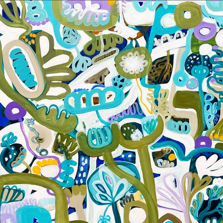 Varied blue and green hues speckled with purple and white designed to depict a coral garden
