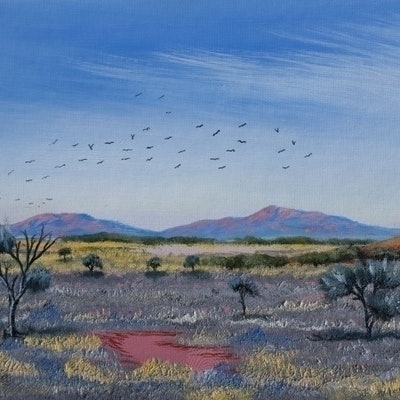 (CreativeWork) Flock of Crows by Philip Osborn. oil-painting. Shop online at Bluethumb.