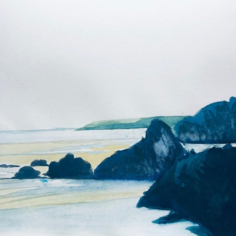 Watercolour on paper of cliffs at the beach, by Shabs Beigh