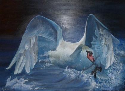 (CreativeWork) Swan by Soudy Rozban. arcylic-painting. Shop online at Bluethumb.