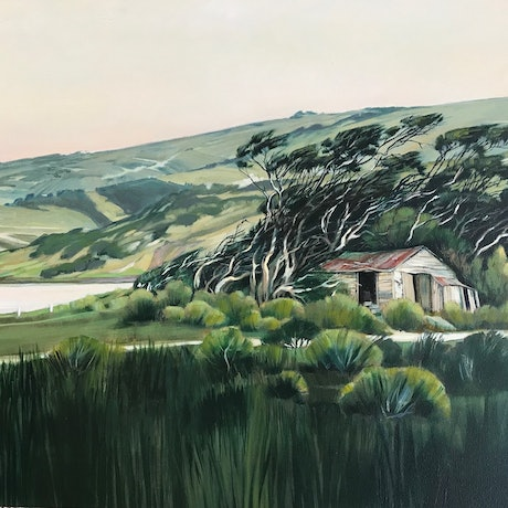 greens, movement of tree in wind,  peaceful countryside