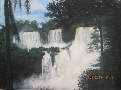 (CreativeWork) Iguzall WaterFall by Soudy Rozban. oil-painting. Shop online at Bluethumb.