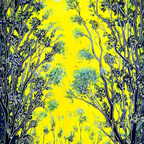 Fantasy landscape of trees in yellows and greens