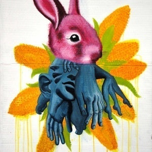 (CreativeWork) Bunny by Jessica Gordon. arcylic-painting. Shop online at Bluethumb.