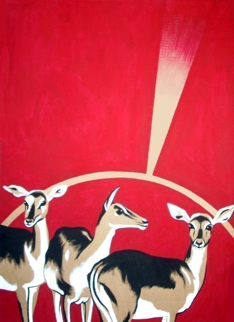 (CreativeWork) Deers by Jessica Gordon. arcylic-painting. Shop online at Bluethumb.