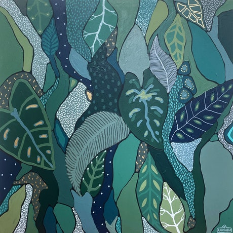 Abstract tropical and botanical green rainforest