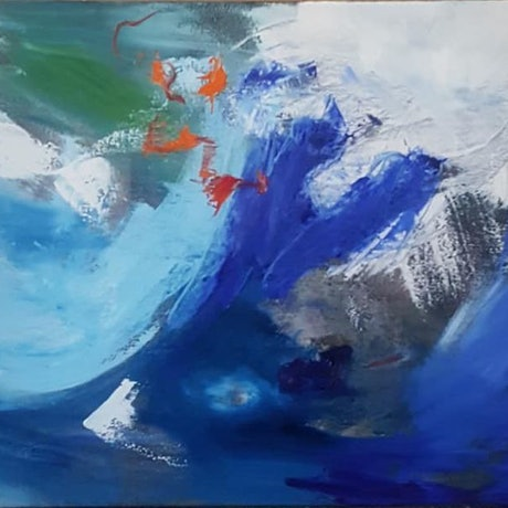 Abstract waves in white and blue with highlights of red and orange.