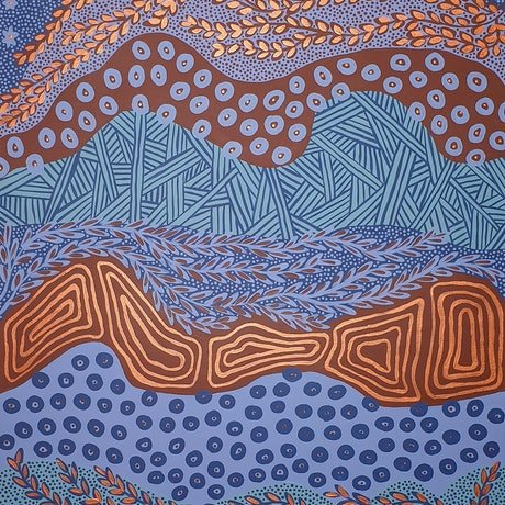 Large blue and maroon Aboriginal painting featuring a variety of shapes, lines, dots and circles.