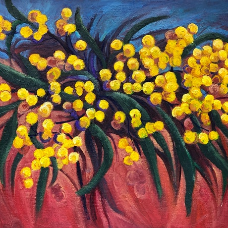 Stylised, yellow, Wattle blossoms with a blue and earthy reddish background.