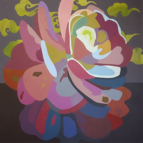 A painting of a flower in an abstract style with Chinese clouds.