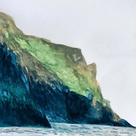 Watercolour painting of green cliffs next to blue sea, by Shabs Beigh