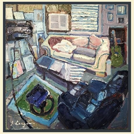 a mood picture about a room using thick impasto oil paint using the impressionist approach and that is trying to capture light