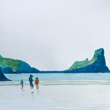 Watercolour painting of a family on Rhossili Beach, by Shabs Beigh