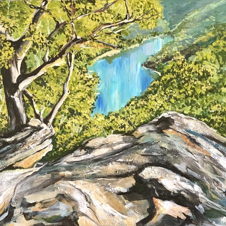 A calming landscape of trees and ancient rocks looking down to the slowly moving and peaceful river down below, bringing an inner peace to the onlooker.