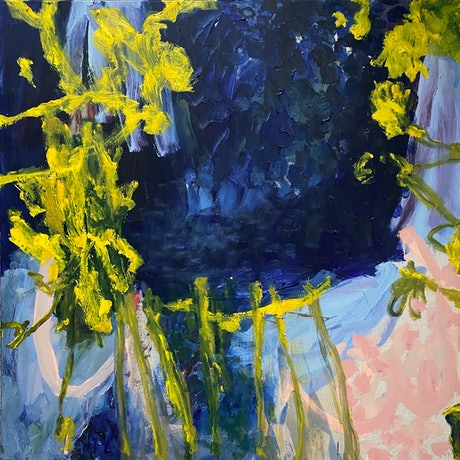 large patches of dark blue, with expressive strokes of yellow and pink.