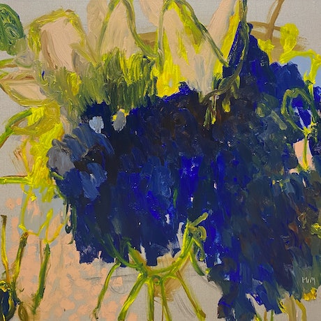 Expressive yellow paint strokes, on a pool-like shape of blues.