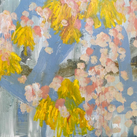 Background is grey blue, with splotches of pink and swipes of bright yellow.