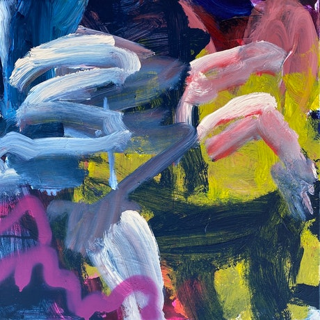 Blue, pink and white swipes of paint across a yellow and dark blue ground