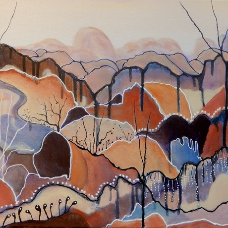 Abstract expressionist outback inspired landscape