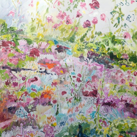 Semi abstract painting of a camellia garden