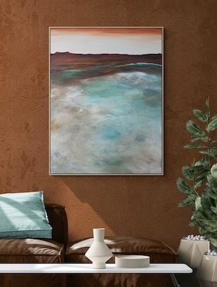 Grey horizon overlooking blue and emerald green ocean landscape and peaceful neutral colours