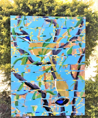 An impressionistic painting of 2 Australian Blue faced Honey Eaters in some twisting branches against a bright blue sky and green toned leaves. The field is broken up with flashes of the same colors as well as some bronzes. It has the feel of a Chinoiserie fabric or a  traditional Japanese screen.