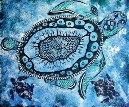 (CreativeWork) Sea Turtle by Danielle Burford. arcylic-painting. Shop online at Bluethumb.