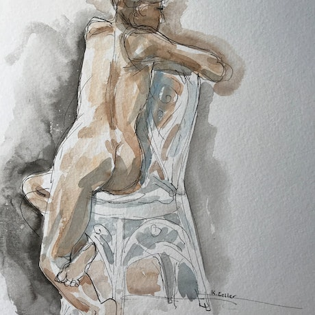 A quick impression of a female life model, in a ornate wicker chair. The woman is facing away from the viewer.   Line work of a fine liner reveals that the artist was in a hurry, and knew there was no time for unnecessary detail. Line and brushwork quickly capture a moment, and required intense focus to finish the drawing in the 20 pose.