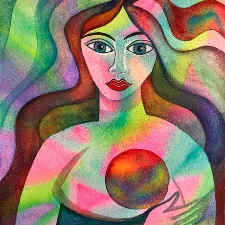 Abstract woman holding a baby or a glowing orb. Vibrant neon colours are balanced with some dark, earth tones. The woman may represent woman as goddess, mother, nurturer and symbol of feminine beauty.  The painting is purely intuitive, and created from place of love and playfulness.