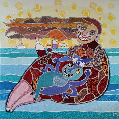 cartoon surreal female character with ship and ocean